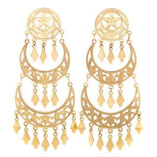 A Pair of Chandelier Earrings in 14K