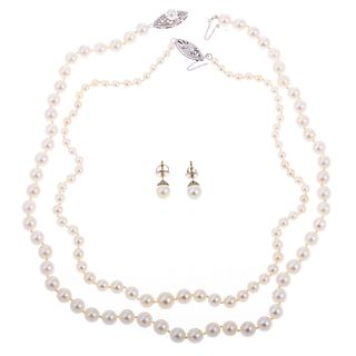 A Collection of Pearl Jewelry in 14K White Gold