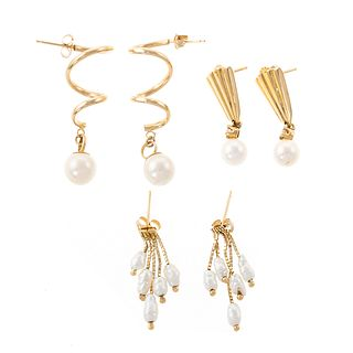 Three Pairs of Pearl Earrings in 14K Yellow Gold