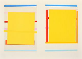 Imi Knoebel Lithograph Diptych with Hand Stenciling