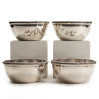 Set: 4 Kichigoro Uyeda Japanese Sterling Silver Bowls