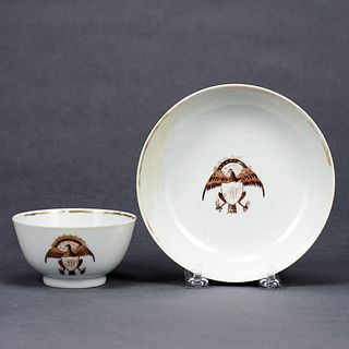 American Market Chinese Export Eagle-Decorated Tea Bowl & Saucer