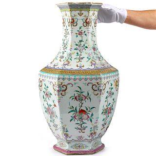 Chinese Qing Famille Rose Porcelain Hexagonal Vase