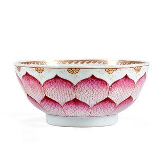 18th C. Chinese Famille Rose Porcelain Lotus Bowl