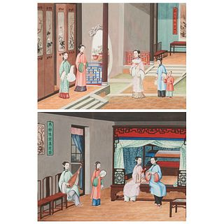 Pair of 19th C. Chinese Export Gouache Paintings