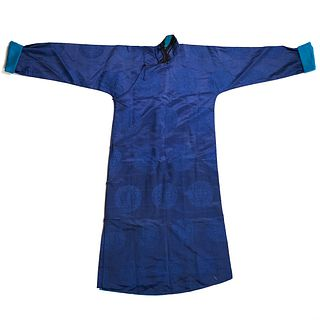 Early 20th C. Chinese Blue Brocade Silk Robe