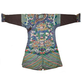19th C. Qing Chinese Blue Silk Brocade Dragon Robe