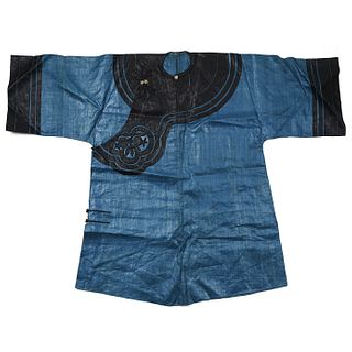 19th C. Chinese Blue Silk Robe w/ Black Collar