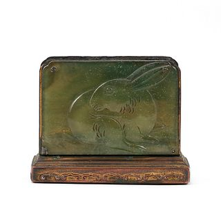 Chinese Peking Glass Rabbit Match Holder