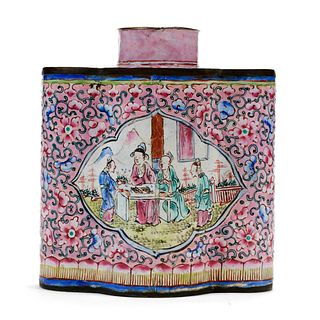 19th C. Chinese Peking Enamel Tea Caddy