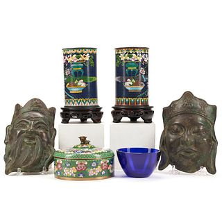 Grp: 6 Chinese Objects - Cloisonne Bronze