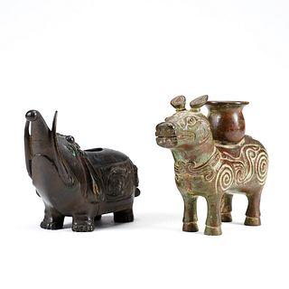 Grp: 2 Archaic Style Chinese Bronze Animals