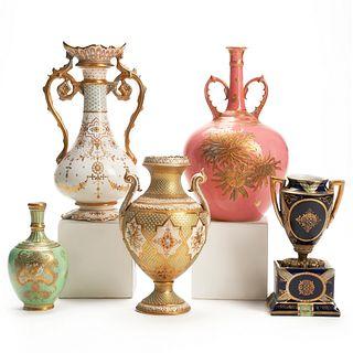 Grp: 5 Enameled Porcelain Vases Royal Vienna Coalport
