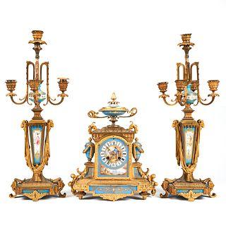 19th C. French Neoclassical Gilt Porcelain Clock Garniture Set