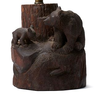 John Clarke Carved Wooden Bear Lamp Stand