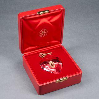 Steuben Crystal 18K Heart w/ Key Paperweight