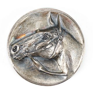 Henryk Winograd Pure Silver Repousse Thoroughbred Equestrian Plaque