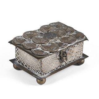 Silver-Plate Box w/ Victoria Empress Coins