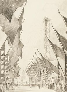 "Leon Pescheret ""Avenue of Flags Chicago Fair 1934"" Graphite Drawing"