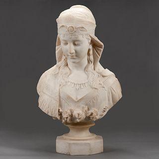 Ferdinando Vichi Egyptian Revival Carved Italian Marble Bust