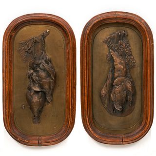 Pair of Auguste Cain Bronze Bird Plaques