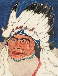 Kevin Red Star Native American Portrait Mixed Media