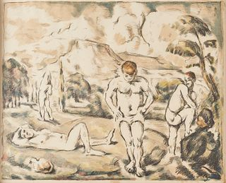 """Paul Cezanne """"The Large Bathers"""" Hand-Colored Lithograph"""