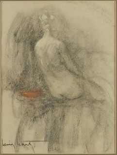 Louis Icart Seated Nude Woman Lithograph