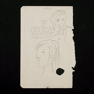 "Picasso ""Self Portrait with Marie-Therese Walter"" Double Sided Pencil Drawing"