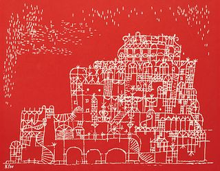After Paul Klee Red Lithograph Poster