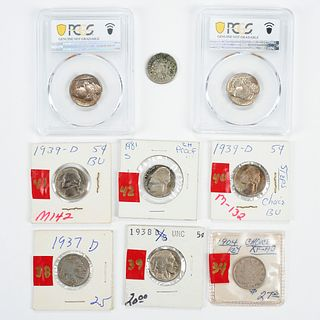 Grp: 9 5-Cent Nickels Coins