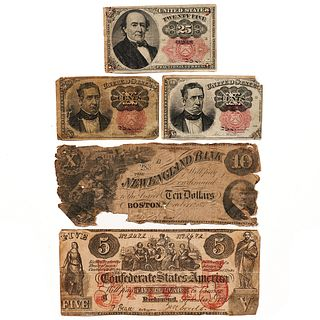Grp: 5 19th C. American Paper Currency CSA