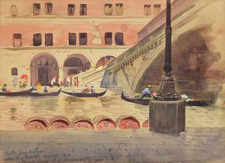 "Alexis Fournier ""Under the Rialto Venice"" Watercolor"