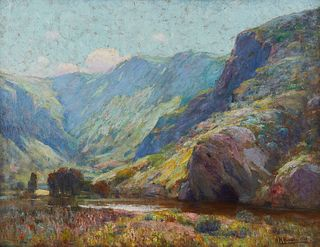 "Nicholas Brewer ""Aliso Canyon, California"" Oil on Canvas"
