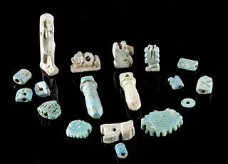 18 Egyptian Glazed Faience Amulets / Beads