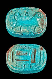 Egyptian Faience Amulet w/ Lion, Ex-Mitry