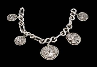 Ancient Greek Silver Coins on Silver Bracelet