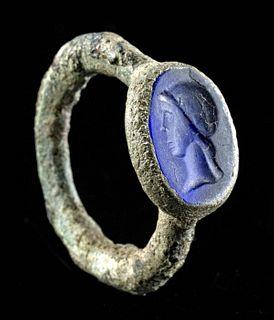 Roman Lead Copper Alloy Ring w/ Blue Glass Intaglio