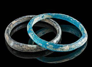 Lot of 2 Petite Roman Glass Bracelets - Vibrant Colors!