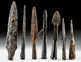 Lot of 7 Roman / Medieval European Iron Spear Tips