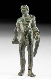 Roman Leaded Bronze Standing Nude Male w/ Wineskin