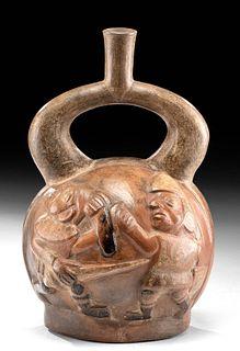 Moche Pottery Stirrup Jar with Battle Scene