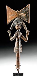 Early 20th C. African Yoruba Wooden Shango Staff