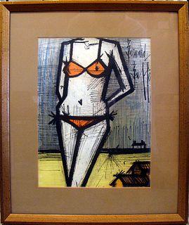 """Bernard Buffet, """"A La Plage"""" 1968"""