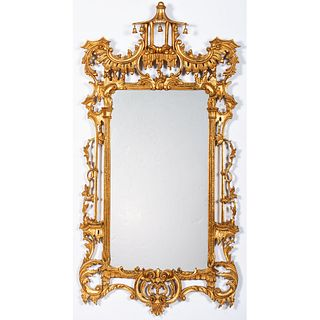 A Chinese Chippendale Style Giltwood Mirror