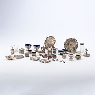 A Collection Of Sterling Silver Salts, Condiments and Other Miniatures