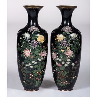 A Pair of Cloisonné Floor Vases