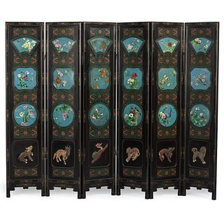 A Chinese Cloisonné Enamel Inset Lacquered Floor Screen