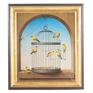 Russell W. Gordon. Caged Birds, oil on canvas