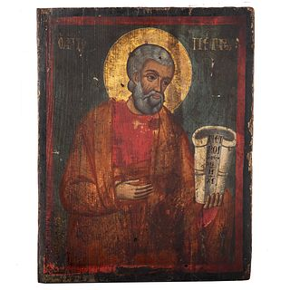 Greek Icon, 18th c. or Earlier. St. Peter, tempera